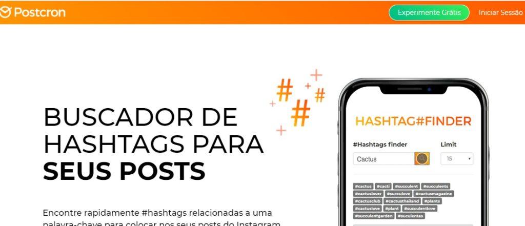 Print do site da postcron, usado para buscar hashtags e melhorar taxa de engajamento do Instagram.